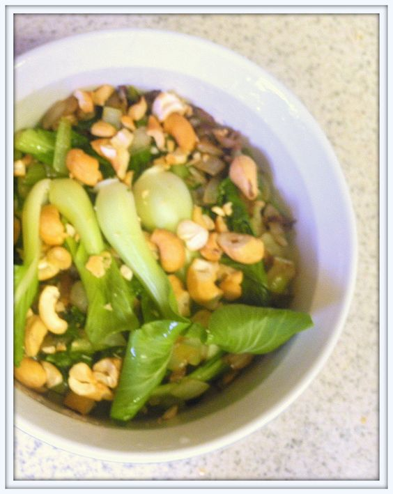 BIZZY BAKES: Baby Bok Choy with Cashews