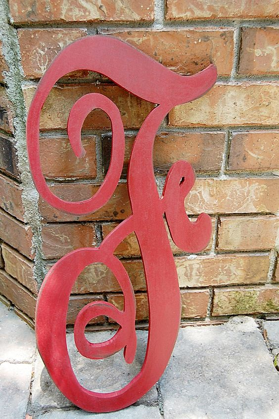 One color Handpainted distressed and Glazed 24inch wood letter in monogram font Or font of your choosing I can cut any font from fontyukle. $27.00, via Etsy.