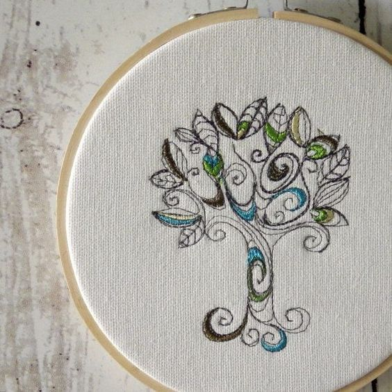 hoop+art+doodles | RTS SALE 40 OFF Hoop Art Doodle Tree by CaboPickles on Etsy, $10.95