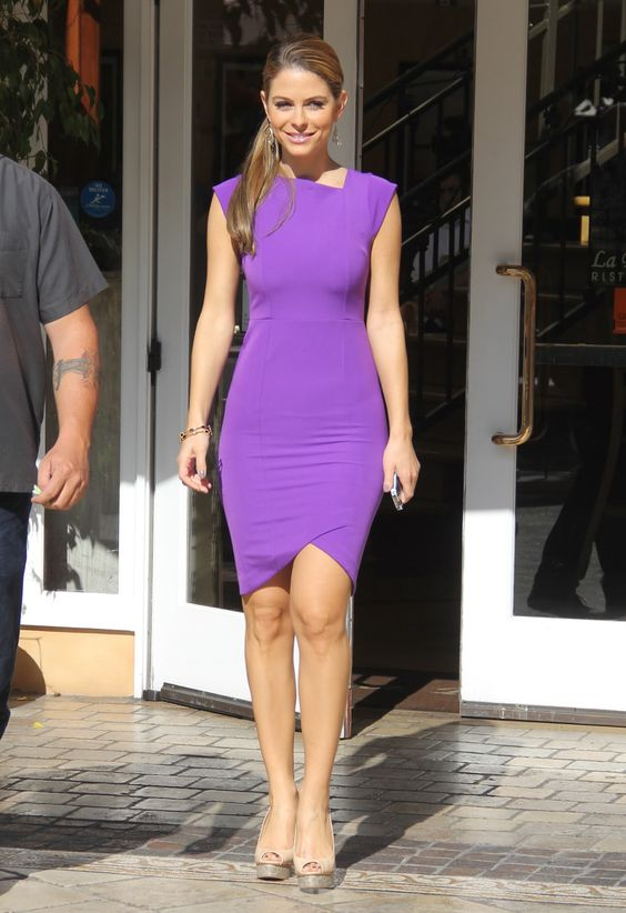 purple sexy party dresses  Maria Menounos filming Extra at the ...