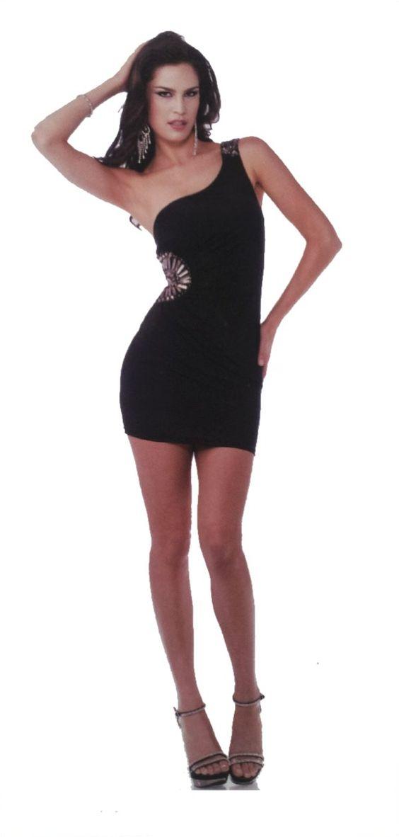 Sexy Black Club Dress Party One Shoulder Stretch Form Fit Mini ...