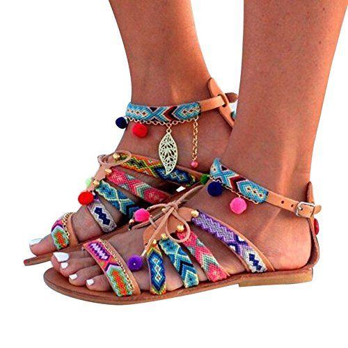 Vovotrade/® Femmes Boh/ême Sandales Gladiator Sandales en Cuir Appartements Chaussures Pom-Pom Sandales EU:33-42