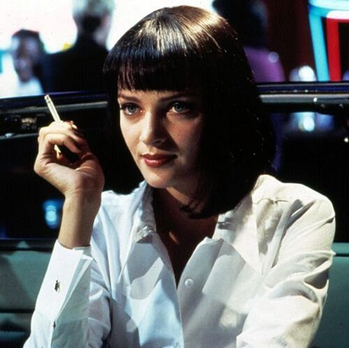 Uma Thurman Hairstyle In Pulp Fiction Medium Haircuts With Bangs Haircuts With Bangs Medium Hair Styles