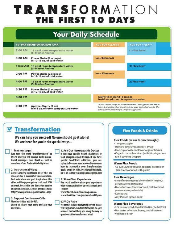 Purium 10 Day Celebrity Transformation Schedule Tips And Flex Foods Www Mypurium Com