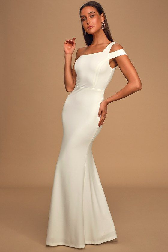 Make An Entrance White One Shoulder Mermaid Maxi Dress In 2020 Cute Prom Dresses Prom Dresses Online Dresses