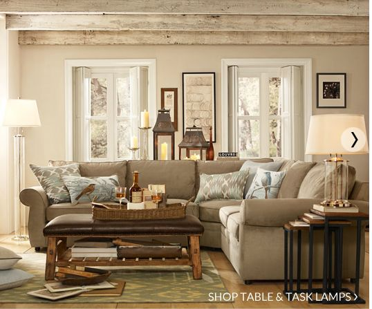Pottery Barn Living Room Pickled Beams And White Trim