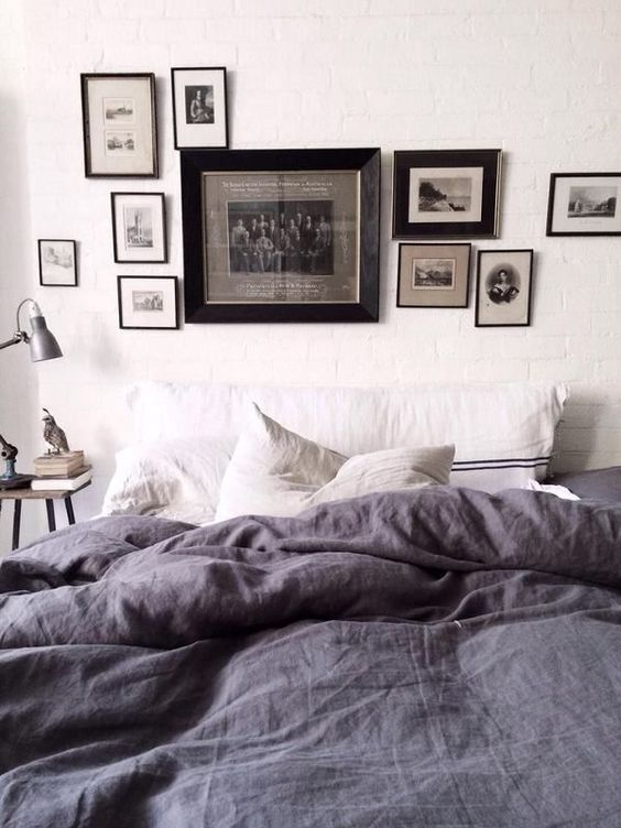 chambre avec parure de lit en lin linen in the bedroom. Black Bedroom Furniture Sets. Home Design Ideas