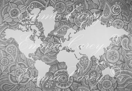 World Map Xl Mandala Mandala Tegning Tegninger