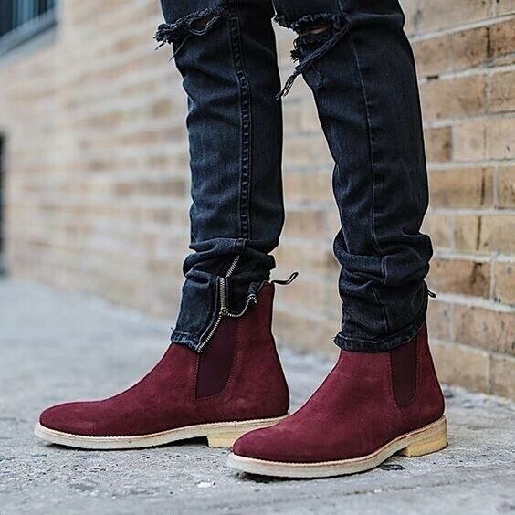 Mens Cowhide Leather Chic Winter Warm Pull On Casual Buckle New Ankle Boots Hot