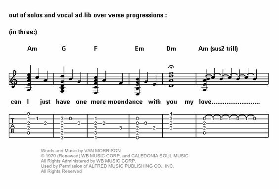 Moondance by Van Morrison tab and chords A note pedal point | Guitar ...