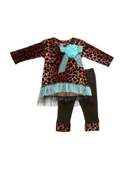 One Good Thread - Haute Baby - Chelsea Leopard Tunic Set - Animal Print Teal, $44.20 (http://www.onegoodthread.com/haute-baby-tunic-set-color/)