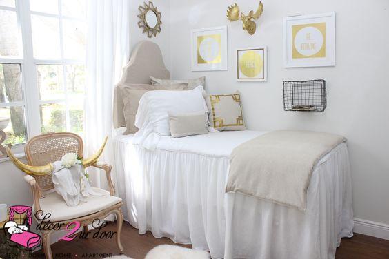 Neutral Tan White Dorm Room : Farmhouse Stye Shabby Chic