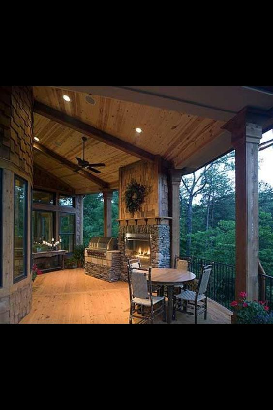 Patio grill and fireplace