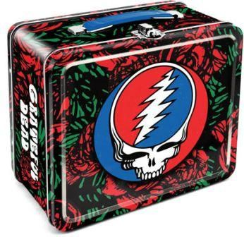 """Grateful Dead - Steal Your Face (SYF) Lunch Box  You will be the hit at lunchtime when you bust out your lunch from this Grateful Dead lunchbox. It features roses all over it with a big Stealie on both sides. This tin lunch tote measures approximately 7"""" x 8"""" and is official Grateful Dead merchandise. #sunshinedaydream #hippieshop"""