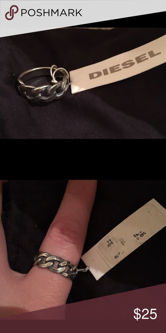 NWT distressed Diesel Ring size 6.5 NWT distressed Diesel Ring size 6.5. Tag is ripped as seen in photo. Diesel Jewelry Rings