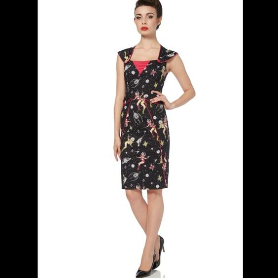Atomic Space Girl Pinup Dress A classy black cotton knee length rockabilly dress design, with a quirky space inspired retro print of stars, spaceships and spacewomen with bubble helmets and ray guns. This style has an attractive and original neckline, matching red shoulder details and buttons. The dress fastens with a zip at the back and is made from 97% cotton and 3% elastane. Dresses