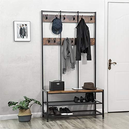 Vasagle Vintage Coat Rack Shoe Bench Ineedthebestoffer Com Coat And Shoe Rack Vintage Coat Rack Hallway Unit