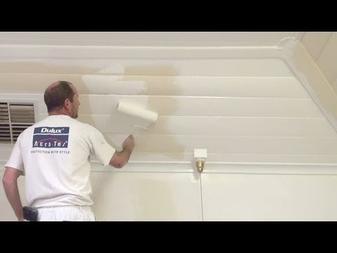 ▶ How To Paint Wood Paneling -- How to paint a wood or timber panel ceiling. - YouTube