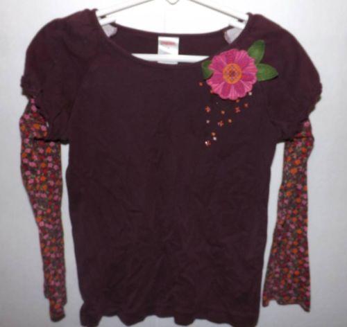 Girls Gymboree Brown Floral Peruvian Dolls Shirt sz 6