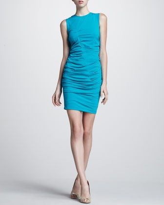 Fitted Ruched Dress by Aidan Mattox at Neiman Marcus.