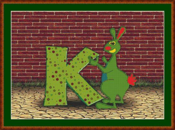 K Is For Kangaroo Cross Stitch Pattern by Avalon Cross Stitch on Etsy