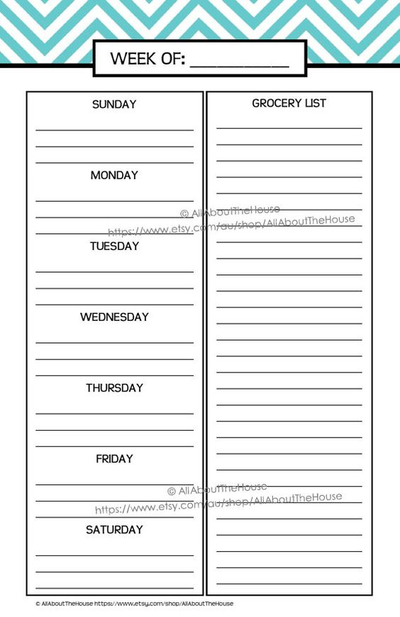 chevron weekly meals meal planner printable planner diaries weekly ...