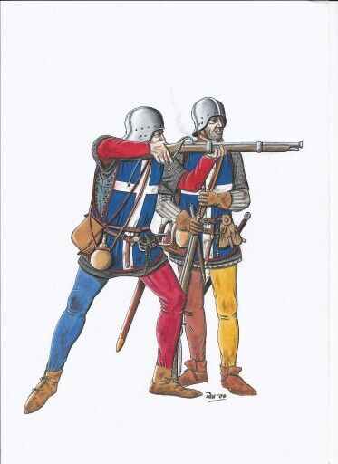 1453 French Hangunners. As the war progressed after the death of Henry V  Jeanne D'Arc obviously contributed to the increasing success of the French. However, the military reorganisation within France including developments with the use of firearms by the Bureau brothers. French hand gunners of the period, the combination of artillery and hand guns together with the over confidence of Sir John Talbot contributed greatly to the English defeat at Castillon in 1453.