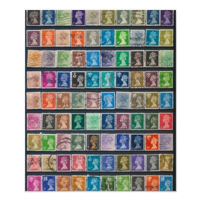 Queen Elizabeth II Definitive Stamps Poster $16.85 #philately