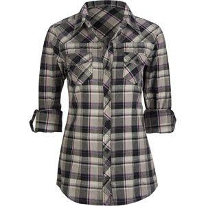 Full tilt roll cuff womens flannel shirt dress me up for Grey plaid shirt womens