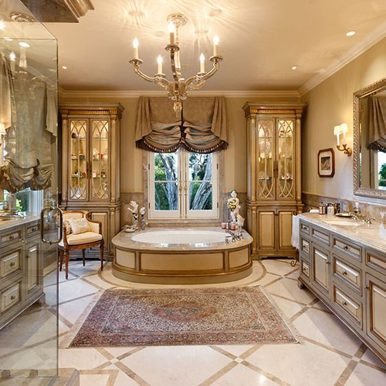 What an amazing bathroom love the warm gold tone marble for Amazing bathrooms