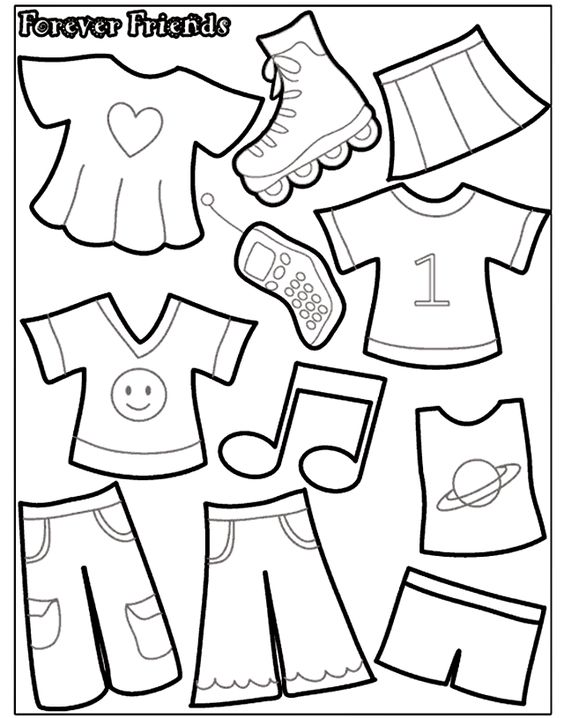 Line Drawing Quiet : Felt board or quiet book paper doll template kalıp