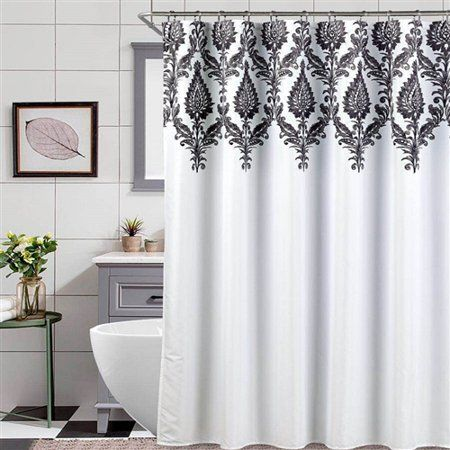 Black And White Scroll Shower Curtain Size 72 Inchx72 Inch Curtains Shower Curtains Walmart White Shower