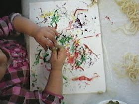 Paint with Spaghetti it feels like worms.