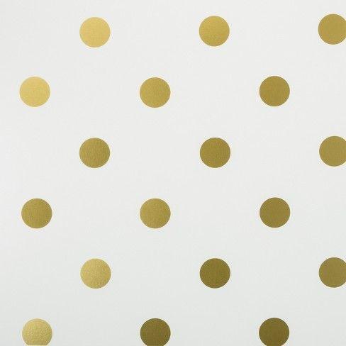 Peel Stick Wallpaper Metallic Polka Dot Gold Cloud Island Polka Dots Wallpaper Gold Polka Dot Wallpaper Gold Polka Dots White and gold dotty wallpaper