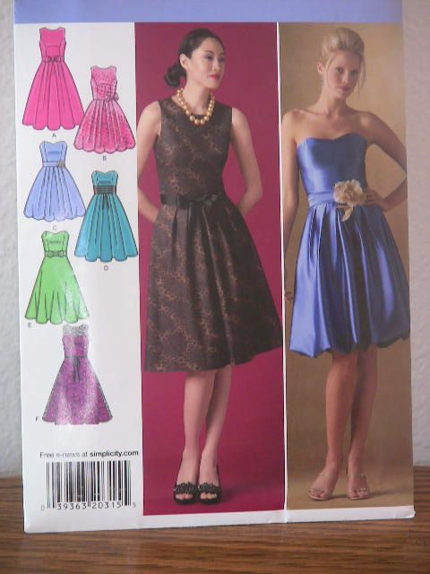 Simplicity Misse/Miss Bridesmaid Dress Sewing Pattern (size 6-14 ...