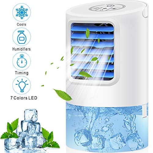 Portable Air Conditioner Fan Personal Desk Fan Space Air Cooler Mini Table Evaporative Ac Ultra Quiet Purif Desk Fan Portable Air Conditioner Led Lighting Home