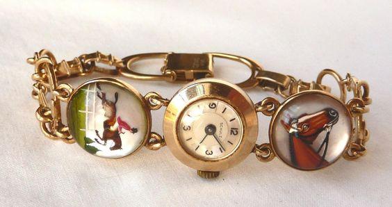 Art Deco 14k Reverse Intaglio Essex Crystal Equestrian Bracelet Watch~J Schulz | eBay