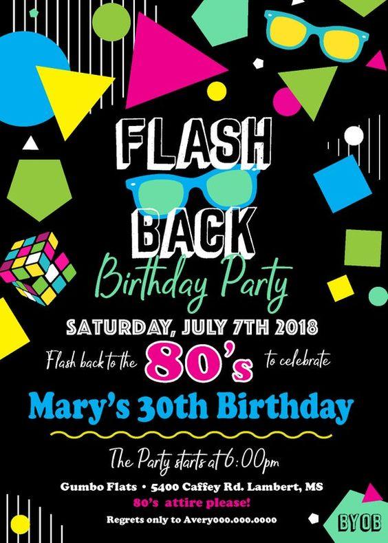 80 S Party Invitation 80s Birthday Party Theme 80s Retro Etsy
