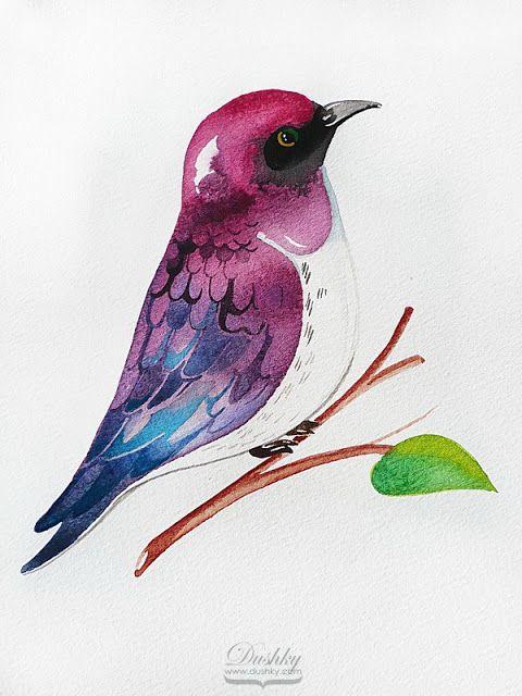 bird illustration by #dushky | #watercolor #illustration #nature #bird #sparrow #tattoo #design