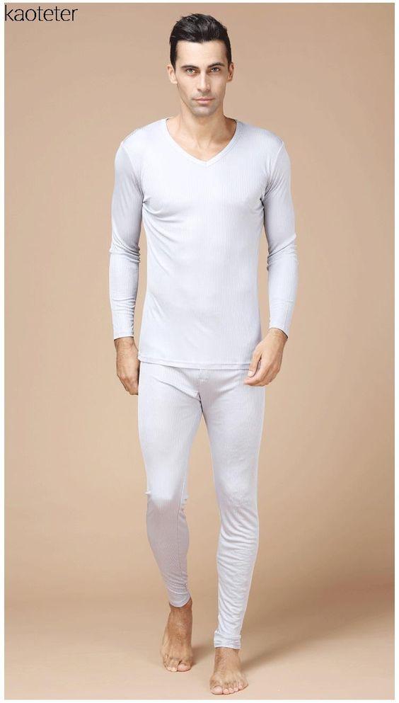 100% Pure Silk Men's Long Johns Male V Neck Warm Body Suits Men ...