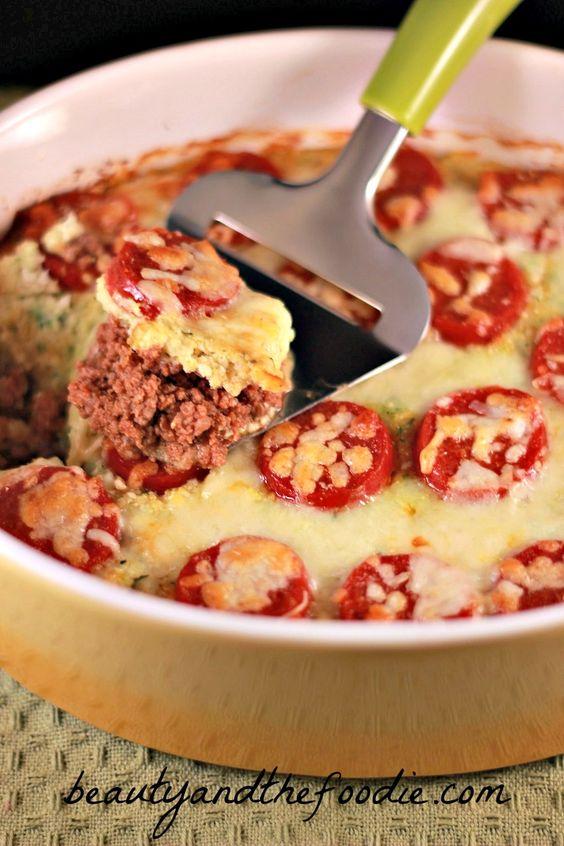 Primal Pizza Pie Layer Casserole | www.beautyandthefoodie.com