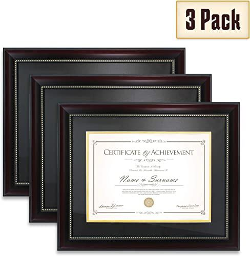 New Elegaframe Diploma Frame 3 Pack That Holds 8 5x11 Inch Document Mat 11x14 Inch Without Mat Black Red Golden Rim Documents Certificates Online Diploma Frame Building For Kids Living Room Stands