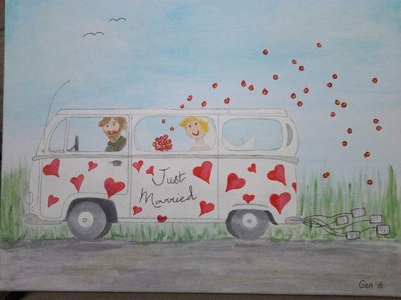Bruiloft schilderij gemaakt voor Harold en Charlotte