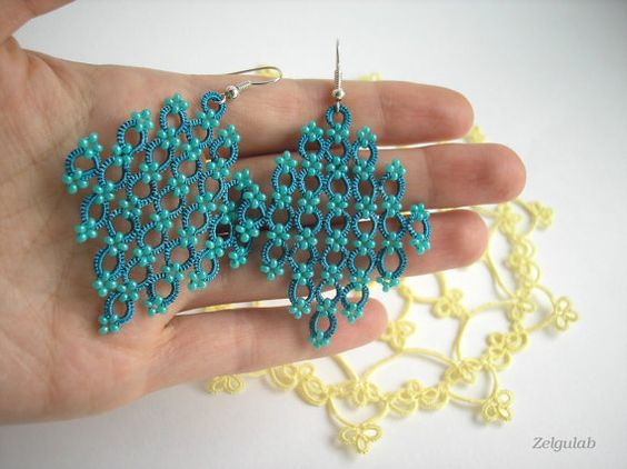 Earrings Teal Green tatted lace Rhombs Size 2 Jade por Zelgulab: