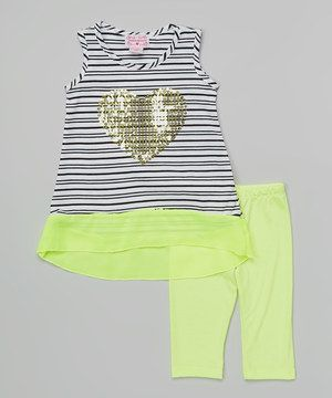 This Lime Stripe Heart Tunic & Leggings - Infant & Toddler by Girls Luv Pink is perfect! #zulilyfinds