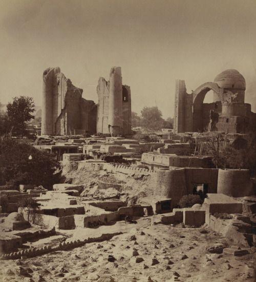 Ruins in ancient Samarkand, Uzbekistan, including the site of the Bibi Khanym mosque, circa 1865-1872. (World Digital Library)
