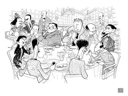 The Algonquin Round Table in caricature by Al Hirschfeld. Seated at the table, clockwise from left: Dorothy Parker, Robert Benchley, Alexander Woollcott, Heywood Broun, Marc Connelly, Franklin P. Adams, Edna Ferber, George S. Kaufman, Robert Sherwood. In back from left to right: frequent Algonquin guests Lynn Fontanne and Alfred Lunt, Vanity Fair editor Frank Crowninshield and Frank Case.