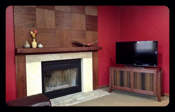 Walnut Midcentury modern living room and fireplace.
