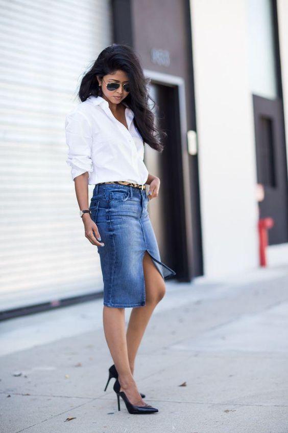20 Modern Ways to Style a Denim Skirt for Spring | Pump, Spring ...