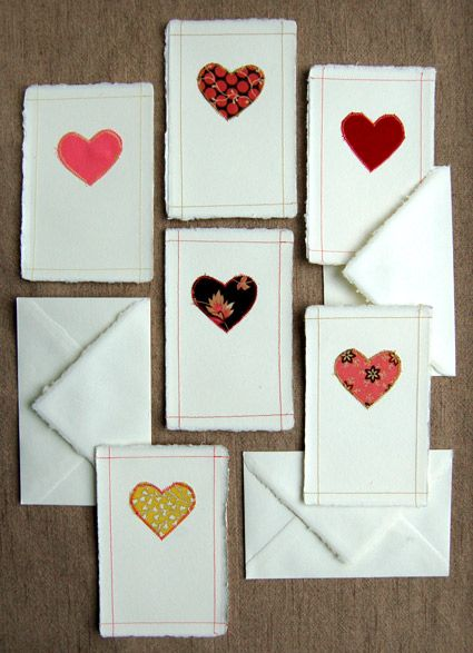 Sewn Valentines cards #DIY : Valentine Idea, Valentine Card, Sewn Valentine, Handmade Valentine, Fabric Heart, Valentines Card, Paper Valentine, Diy Valentine, Fabric Valentine